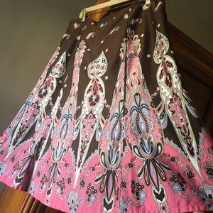 Lane Bryant Pink Brown White & Blue Circle Skirt